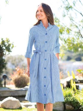 Crinkle Check Shirt Dress