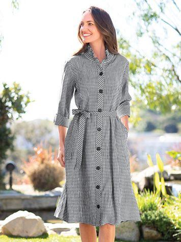 Crinkle Check Shirt Dress - Image 1 of 3