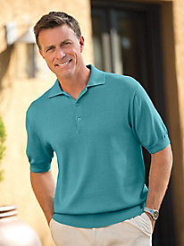 Men's Silk/Cotton Polo Sweater