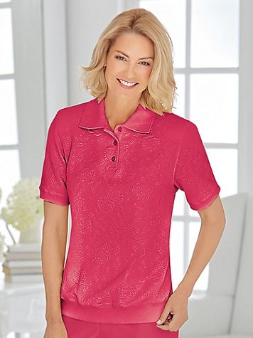 Alfred Dunner Textured Knit Polo Top - Image 1 of 4