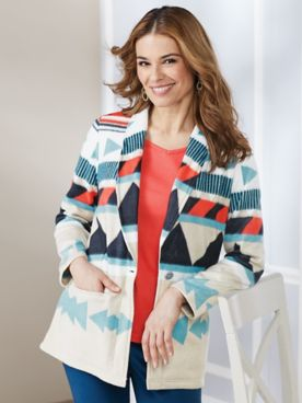Aztec Print Fleece Jacket