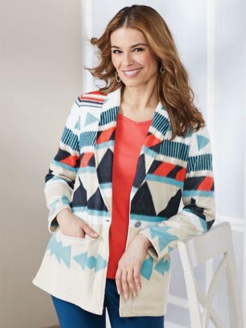 Aztec Print Fleece Jacket - Image 0 of 6