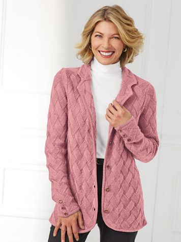 Classic Basket Weave Cardigan By Koret® - Image 1 of 9