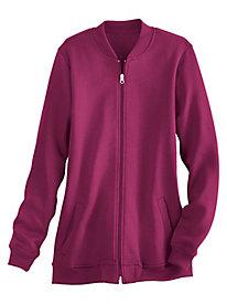 Zip-Front Knit Baseball Jacket
