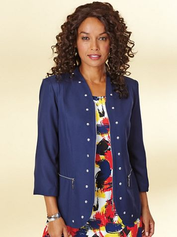 Zip Front Jacket with Studs - Image 0 of 1