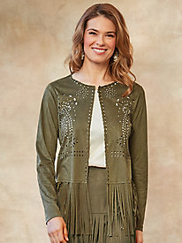 Knit Suede-Like Fringed Jacket by Isabel Hayley