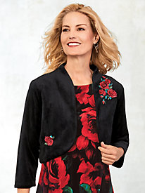 Embroidered Knit Velour Bolero Jacket by Old Pueblo Traders