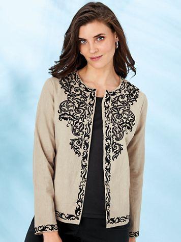 Koret® Embroidered Linen-Look Jacket - Image 0 of 7