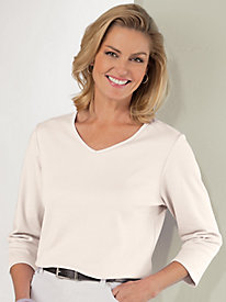 Any Day Three-Quarter Sleeve V-Neck Tagless Tee
