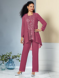 Embellished 3-Pc. Pants Set