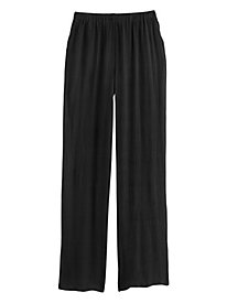 Wide-Leg Rayon Crinkled Pants