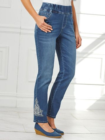 Flat-Waist Embellished Jeans By Isabel Hayley