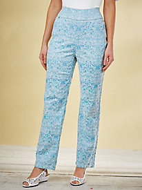 Flat-Waist Jacquard Pants By Koret®