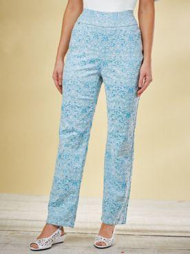Flat-Waist Jacquard Pants By Koret®