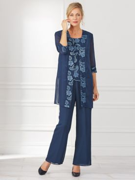 3-Pc. Embroidered Sequin Pants Suit