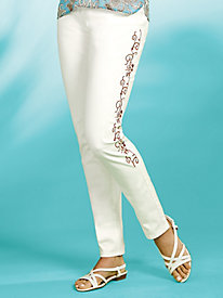 Embroidered Scroll Jeans by Isabel Hayley