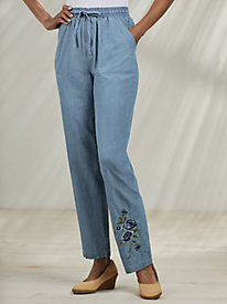 Embroidered Pull-On Pants with Drawstring
