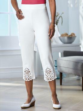 Lace Inset Knit Capris