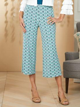 Ruby Rd. Amalfi Coast Print Knit Culottes