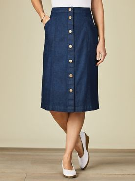 Koret® Button Front Jean Skirt