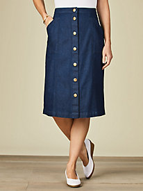 Koret® Button Front Jean Skirt by Old Pueblo Traders