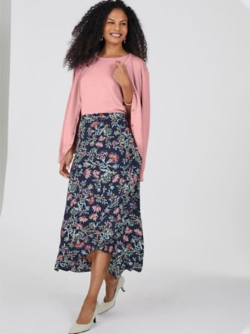 Pearlized Twinset and Ruffle Skirt