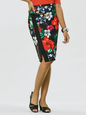 Koret® Faux Wrap Tropical Skirt