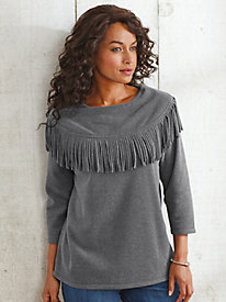 Fringe Collar Fleece Top