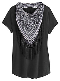 Scoop Tee With Fringed Scarf