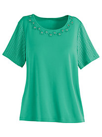 Classic Lace Sleeve Tee by Alfred Dunner®