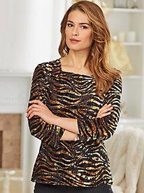 Knit Velour Animal Print Top By Regalia®