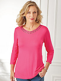 Three-Quarter Sleeve Bling Top By Isabel Hayle