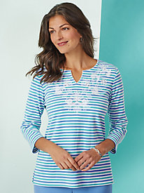 Embroidered Stripe Top By Alfred Dunner®