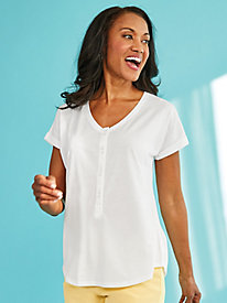 Heathered Henley Tee by Gloria Vanderbilt®