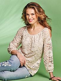 Cold Shoulder Lace Top by Regalia®