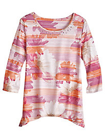 Los Cabos Floral Stripe Top By Alfred Dunner®