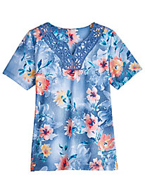 Sun City Floral Lace Yoke Tee By Alfred Dunner®