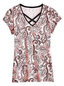 Paisley Cross Neck Knit Top by Emaline