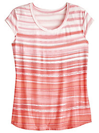 Scoop Neck Stripe Knit Tee by Emaline