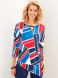 America's Cup Geo Patchwork Top By Alfred Dunner®
