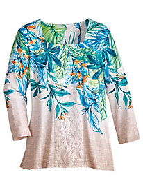 Scottsdale Tropical Lace Top By Alfred Dunner®