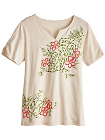 Parrot Cay Embroidered Top By Alfred Dunner®