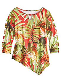 Parrot Cay Tropical Print Top By Alfred Dunner®