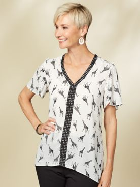 Guadalupe Giraffe Print Blouse by Emaline