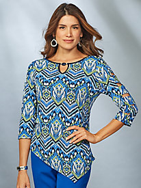 Royal Street Zig Zag Print Top By Alfred Dunner®