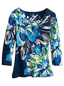 Royal Street Flowers Top By Alfred Dunner®