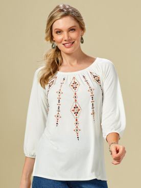 Desert Drifter Embroidered Top by Ruby Rd.