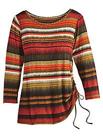 Ikat Stripe Print Top by Ruby Rd.