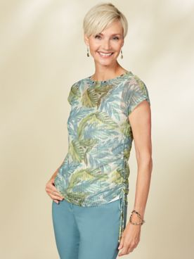 Island Treasures Palm Print Top by Hearts of Palm