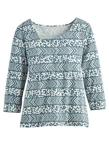 Asymmetrical Neck Print Top by Hearts of Palm - Image 2 of 2